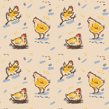 Seamless Pattern Of Cute Cartoon Funny Chickens. Farm Chickens And Eggs. Vector Illustration Collection Design.