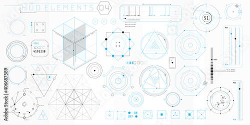 A set of HUD geometric elements for a futuristic interface.