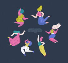 Happy International Woman Day.Feminism Concept.Bright Different Dancing Girls In Circle.Eight Of March Congratulation.Protect Free Confident Women.Feminine, Female Empowerment.Flat Vector Illustration