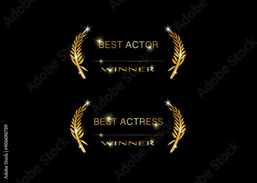 set best actor and actress concept sign, isolated on black background. Gold vector best awards winner prize icon with golden shiny text