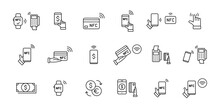 Set Of NFC Payment Linear Icons. Pay Pass. Wireless Pay. Nfc Card Payment. NFC Technology. Customer Is Paying. Vector Illustration.