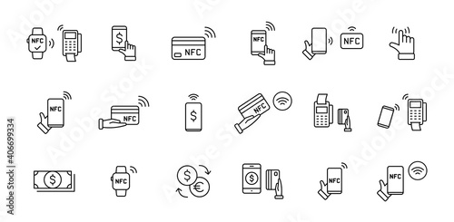 Set of NFC payment linear icons Fototapeta