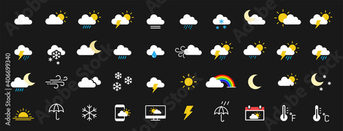 Fotografie, Obraz Set of 40 weather web icons in line style
