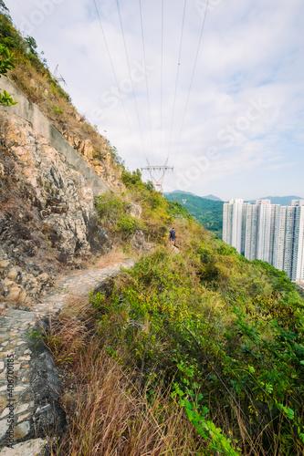 Canvas Print Panoramic Aerial view over Tin wan, Aberdeen and Ap Lei Chau district seen from Hong Kong Trail sec