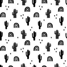 Scandinavian Cactus Seamless Pattern. Vector Black And White Scandi Print. Child Trendy Background