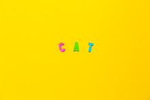 The Word Cat Made Of Colored Plastic Letters With Magnets On A Yellow Background With Copy Space, Text Place. Preschool Education In A Fun Color Form As A Game. A Simple Word For An Animal. Banner