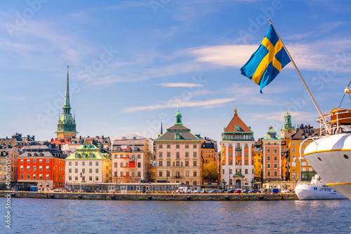 Canvas Print Stockholm old town city skyline, cityscape of Sweden