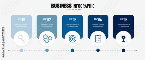 Canvas Infographics design vector and business icons with 5 options for presentation an