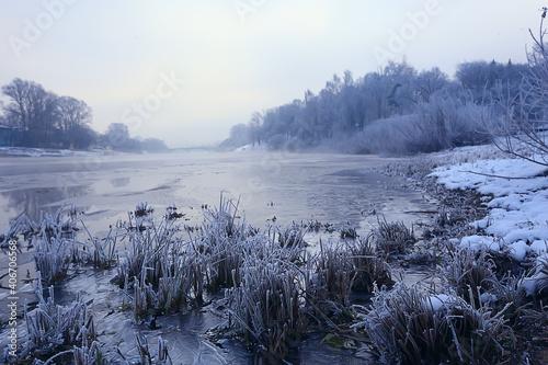 freezing river november december, seasonal landscape in nature winter