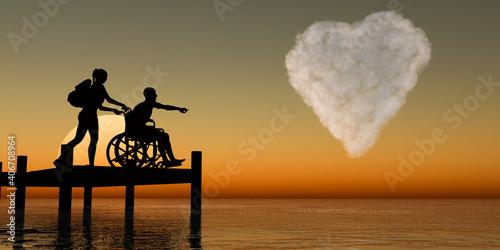 Fotografering Ilustración con la silueta de una pareja con hándicap físico señalando una nube