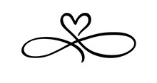 Love Hand Drawn Heart Sign Of Infinity With Cute Sketch Line. Divider Doodle Love Shape Isolated On White Background For Valentines Day, Wedding, Mother's Day Or Woman's Day. Vector Illustration