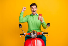 Photo Of Delighted Person Fist Up Open Mouth Celebrate Triumph Like Subscribe Isolated On Yellow Color Background
