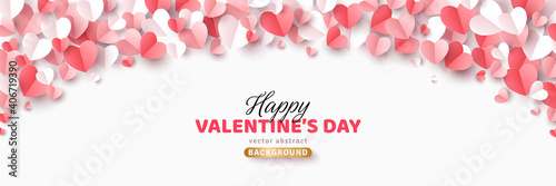Valentine's day concept background. Vector illustration. 3d red, white and pink paper cut hearts frame or border. Cute love sale banner or greeting card