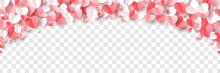 Red, Rose Pink And White Hearts Border Isolated On Transparent Background. Vector Illustration. Paper Cut Decorations For Valentine's Day Design