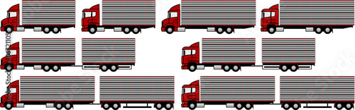 Foto Livestock transport - set - package - Truck towing a livestock trailer - livesto