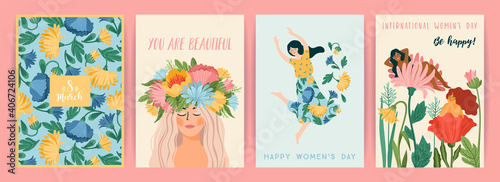 Obraz International Women s Day. Set of vector templates with cute women and flowers for card, poster, flyer and other - fototapety do salonu