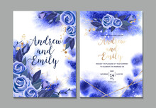 Wedding Invitation Card With Navy Blue Watercolor Background And Hand Drawn Bouquet. Vector Blue Roses And Leaves With Gold Design Elements