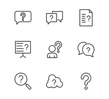 Set Of Question Related Vector Line Icons. Contains Such Icons As Puzzle, Web Icons, Difficult Task, Question Mark And More, Editable Stroke.