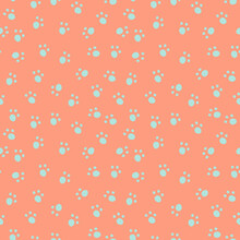 Vector Pattern With Animal Footprints On Peach Background