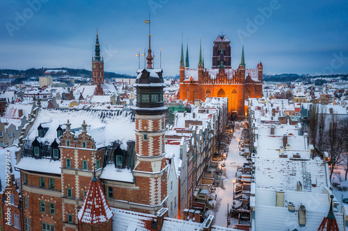 Beautiful scenery of Gdansk over Motlawa river at snowy winter, Poland Wallpaper Mural