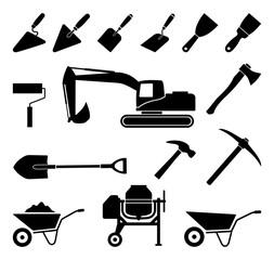 sprzęt budowlany zestaw ikon