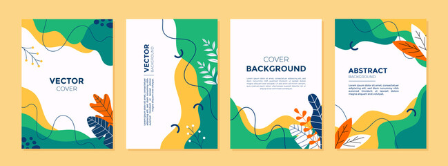 Set of abstract creative artistic templates with spring season concept. Universal cover Designs for Annual Report, Brochures, Flyers, Presentations, Leaflet, Magazine.