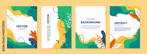 Fototapeta Set of abstract creative artistic templates with spring season concept. Universal cover Designs for Annual Report, Brochures, Flyers, Presentations, Leaflet, Magazine. obraz