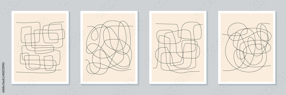 Fototapeta Abstract creative minimalist artistic hand drawing poster collection. Trendy composition for wall decoration. Postcard or brochure design. Vector illustration
