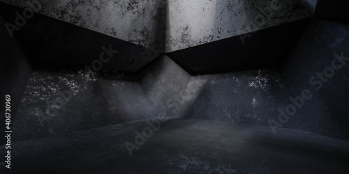 Obraz na plátně dark grunge industrial basement with soft beams of light 3d render illustration