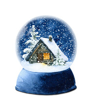 A Snow Globe With A Small Cozy Winter House, Snow-covered Spruces And Snow Against The Night Sky Hand Drawn In Watercolor Isolated On A White Background. Winter Illustration. House In A Winter Forest