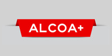 Red Color Inserted Label With Word Aloca   On Gray Background