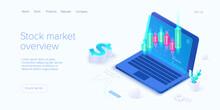 Stock Exchange Vector Illustration In Isometric Design. Trading Market Or Investment Mobile App. Broker Or Trader Application. Web Banner Layout Template.