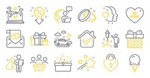 Set Of Holidays Icons, Such As Surprise, Ice Cream, Fireworks Symbols. Discount, Holiday Presents, Buyers Signs. Be Mine, Heart, Airplane Travel. Wedding Rings, Love Lock, Present Box. Vector