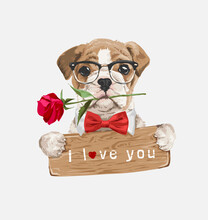 Cute Dog With Bowtie Holding I Love You Wood Sign Illustration