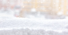 Winter Snow Background. A View From A Window After A Snowfall. Snow Drifts In A City