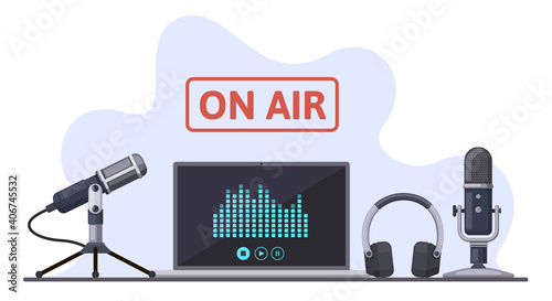 On air. Podcast, radio broadcast, or audio streams, sound recording with microphone and headphones. Online podcast vector illustration set. Record studio with laptop, media and entertainment