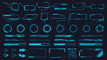 Futuristic Interface Ui Elements. Holographic Hud User Interface Elements, High Tech Bars And Frames. Hud Interface Icons Vector Illustration Set. Circle And Rectangular Shape Borders