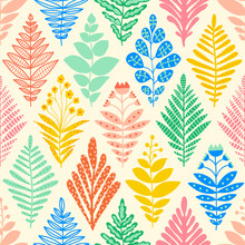 Ikat Flower Rhombus Damask Seamless Vector Pattern. Repeating Background Abstract Plants Leaves Florals In Geometric Rhombus Shapes. Decorative Modern Vintage Texture For Fabric, Wallpaper, Wrapping.
