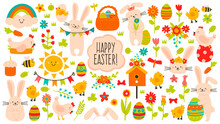 Cute Easter Elements. Spring Easter Cute Decoration, Eggs, Chickens, Flowers And Rabbits. Easter Holiday Decoration Icons Vector Illustration Set. Birdhouse, Bunny Ears Headband, Bees