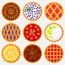 Pies Top View. Baking Food, Delicious Apple, Blueberry, Pecan And Tasty Cherry Pie. Sweet Pastry View From Above Vector Illustration Set. Homemade Tart For Dessert With Lemon And Lime