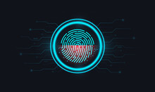 Finger-print Scanning. Abstract Digital Conceptual Technology. Login Using Fingerprint Identification With A Print Inside A Circle On An Electronic Or Digital Screen. Vector Illustration