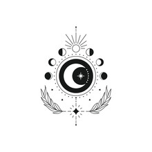 Abstract Esoteric Line Drawing. Boho Moon Phases Mystical Magic Celestial Tattoo, Minimal Logo Design. Vector Illustration
