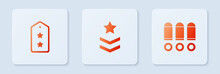Set Military Rank, And Bullet. White Square Button. Vector.