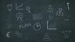 business scribbles on a chalkboard, charts, diagrams and other symbols