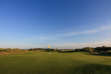 Links Golf Course With Sunset At Texel