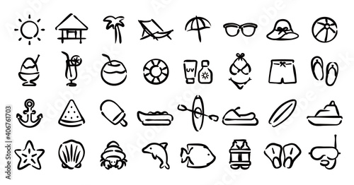 Obraz na plátně Beach and Summer Icon Set (Hand draw version)