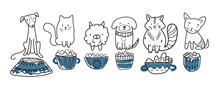 Cute Pets. Marker Style, Different Cats, And Dogs With Plates Filled Up With Food. Cute Animals Set. Vector Lined Illustration.