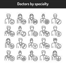 Doctors By Specialty Color Line Icons Set. Subject Matter Experts.