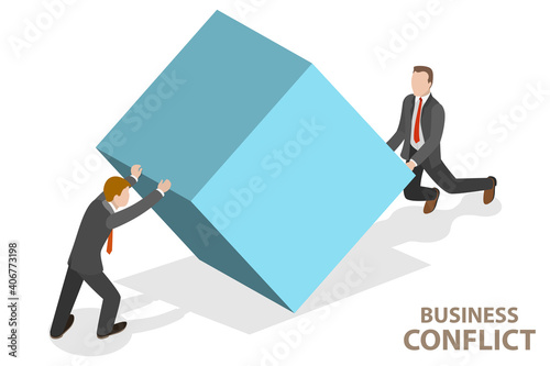 Stampa su Tela 3D Isometric Flat Vector Conceptual Illustration of Conflict of Interest, Business Clash