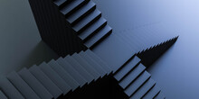 Black Abstract Stair Case On Black Background 3d Render Illustration
